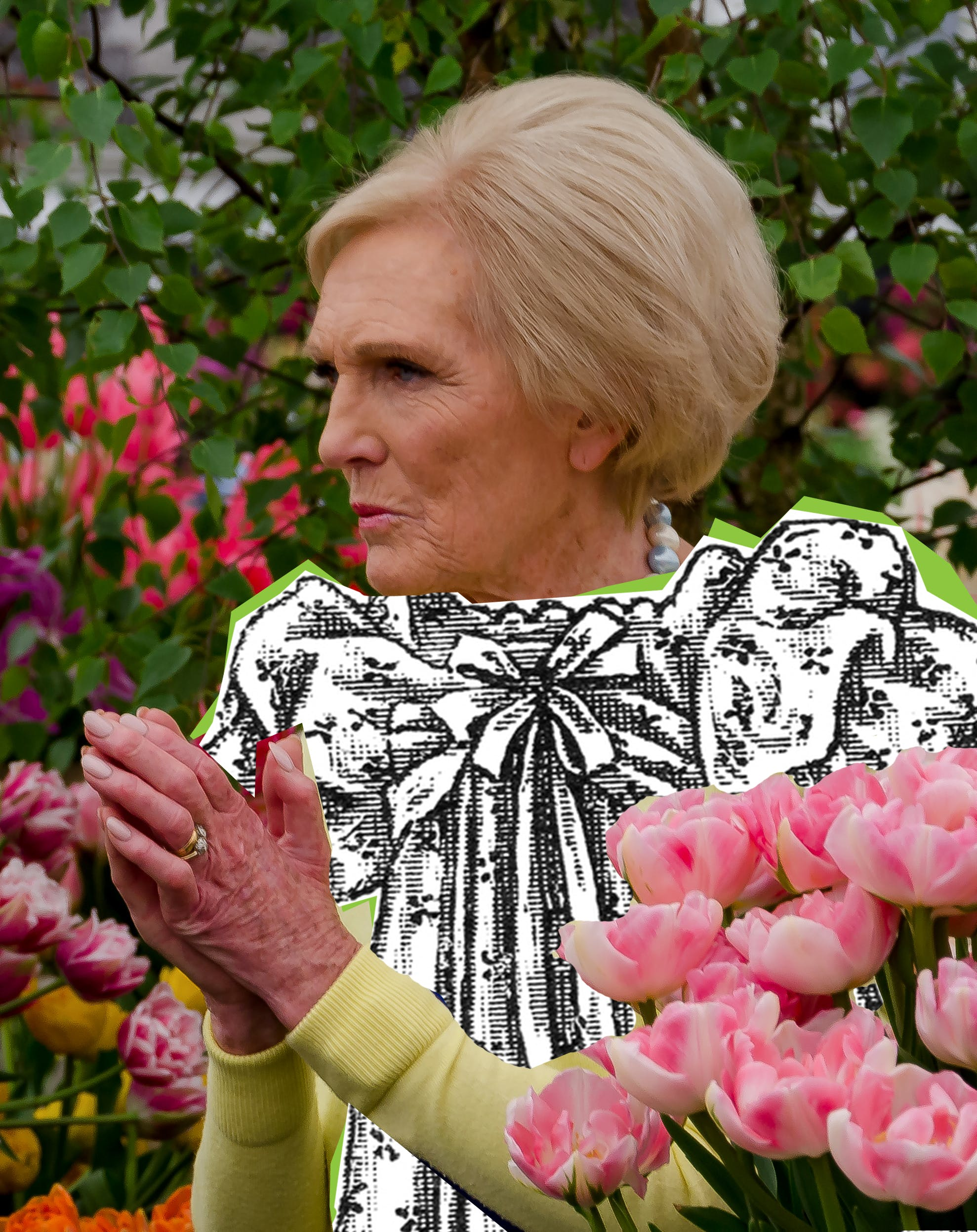 Mary Berry wearing an old drawing of a dress