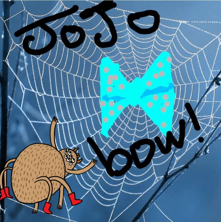 JoJo Bow stuck in a spider web - Complete the Drawing