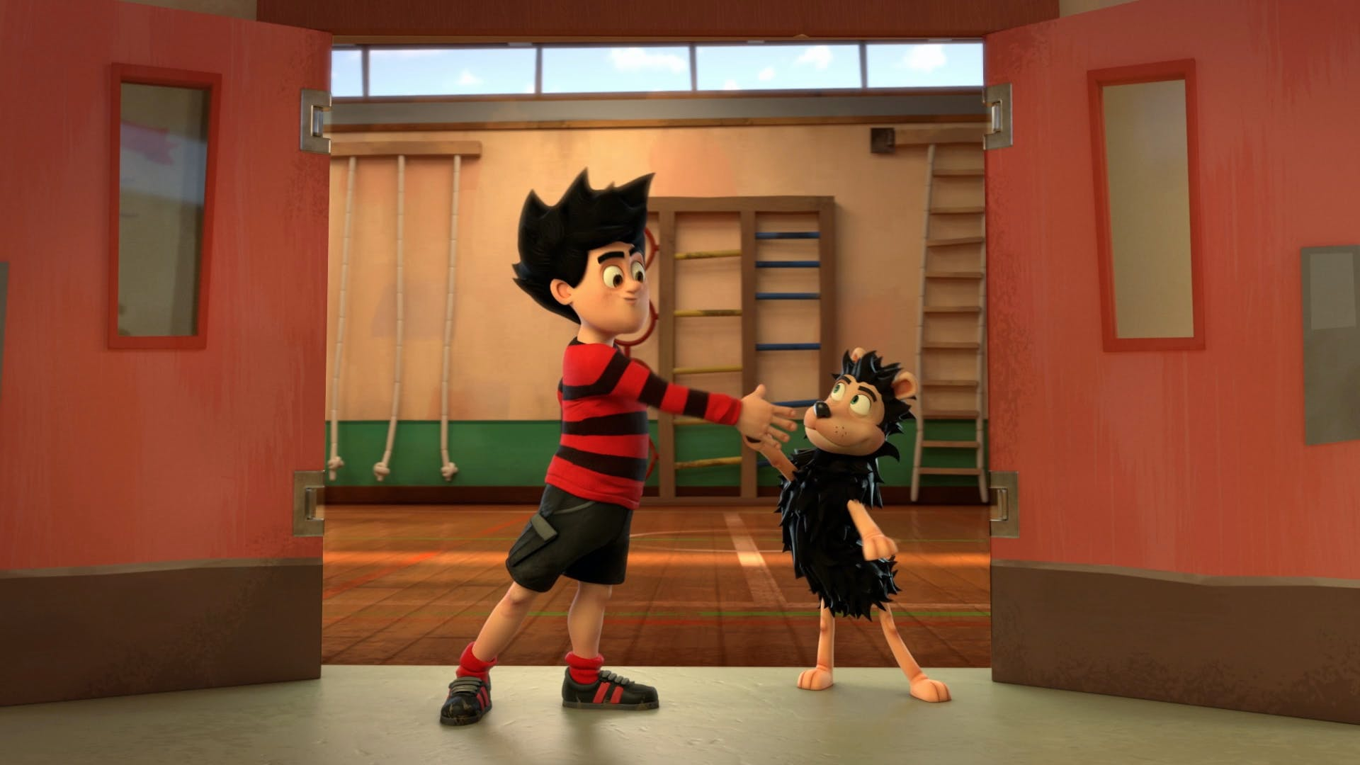 Dennis and Gnasher high five