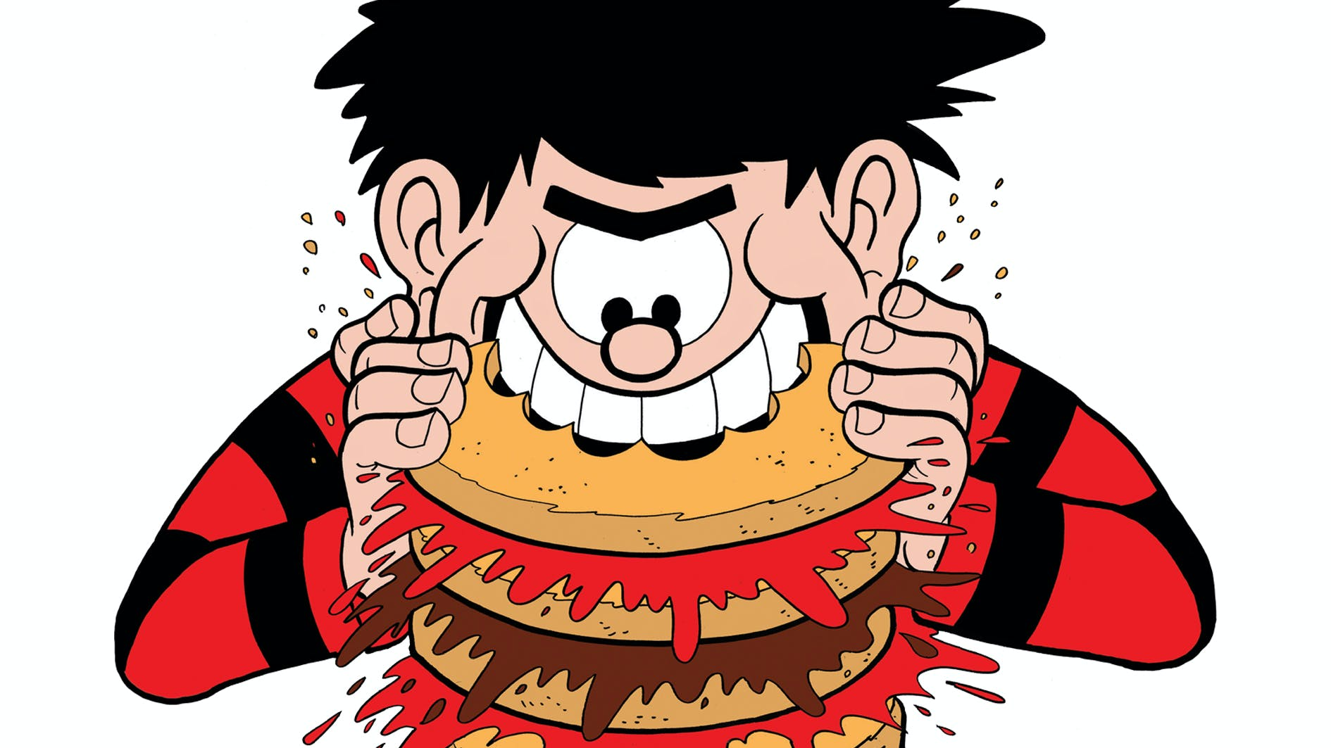 Dennis the Menace eating a burger