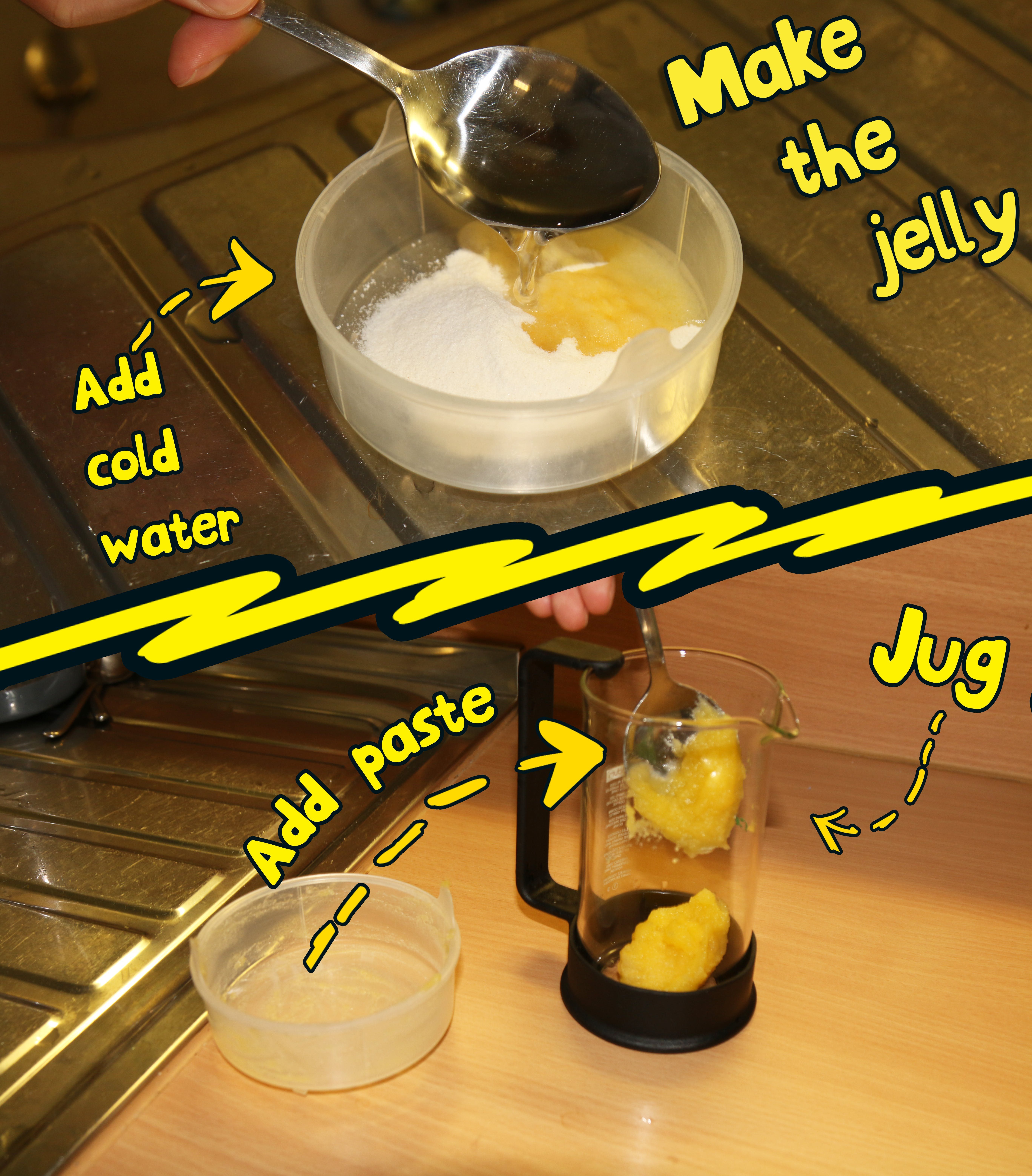 Make the jelly by adding a little cold water to the powder.