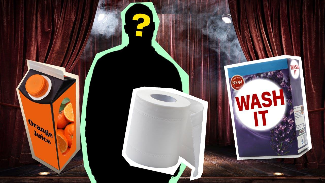 Mystery Shopping Pop Star buying orange juice, toilet roll and washing powder