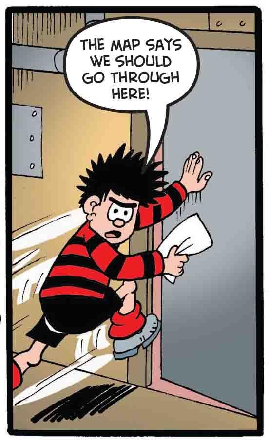 Dennis goes through a door