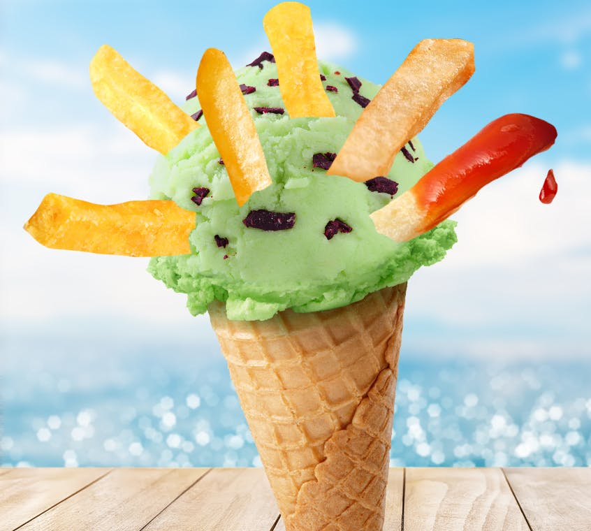 Mint chocolate ice cream with chips
