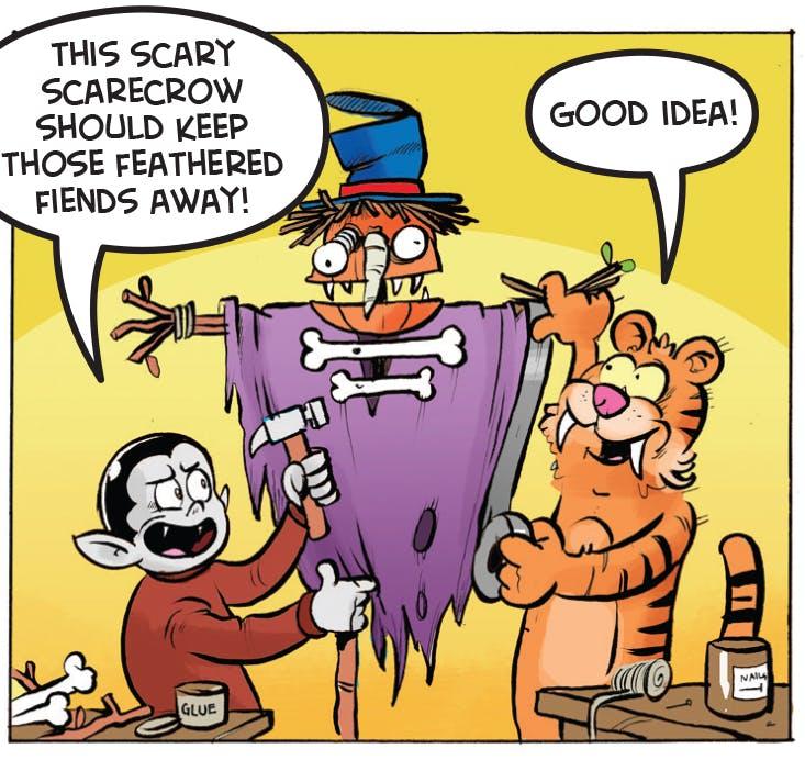A scarecrow should do the job