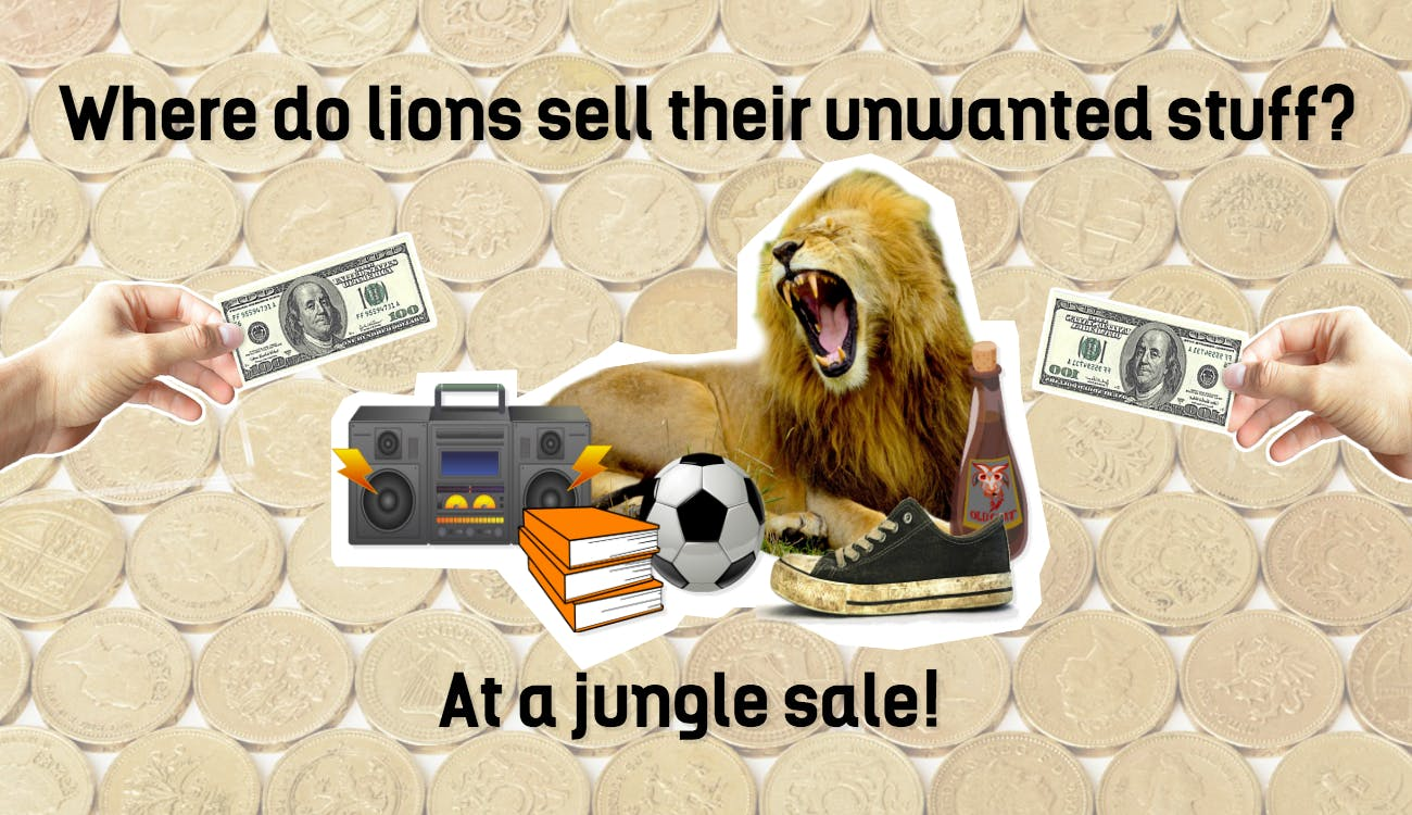 This is a lion selling old unwanted things