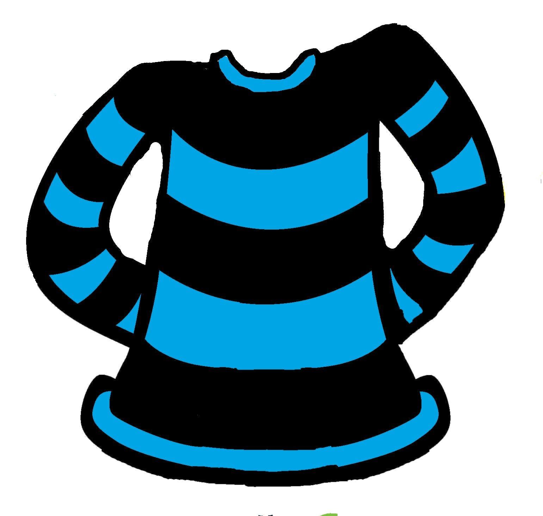 A blue and black stripe jumper