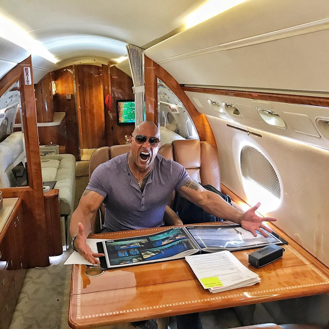 The Rock being awesome on a plane