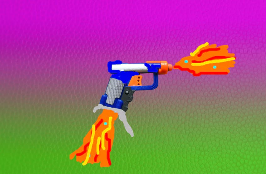 Nerf Gun with fire coming out of it