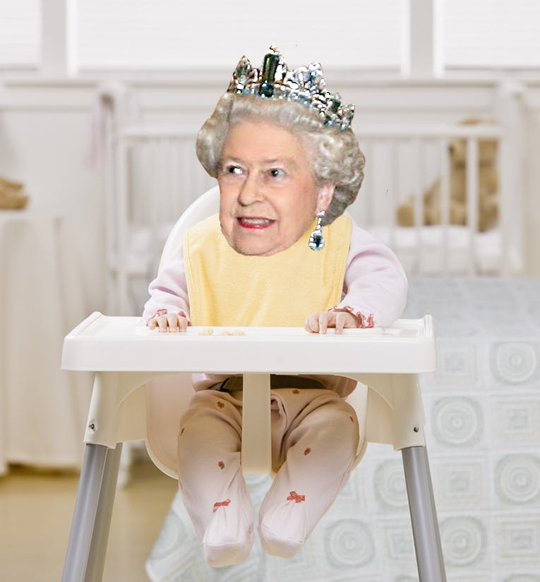 A baby with the Queen's head