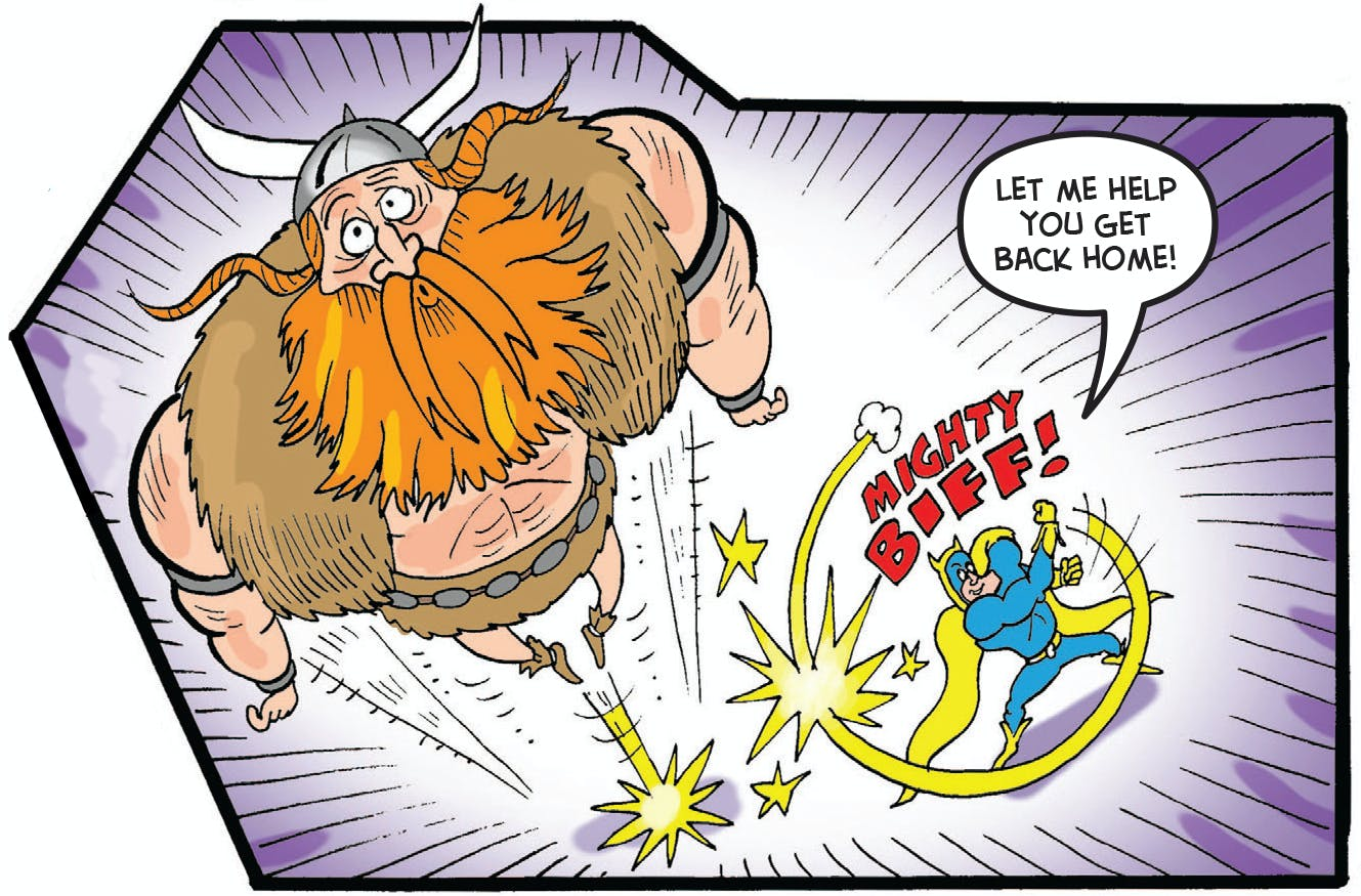 Bananaman punches Thor back to Valhalla