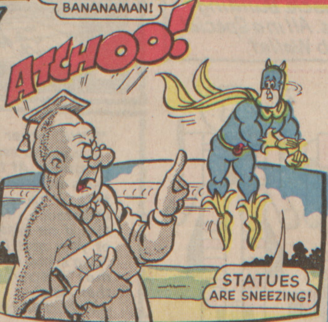 Bananaman 1985 - and even the statues!