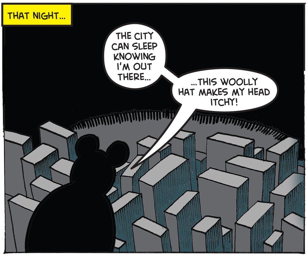 Batmin surveys the 'city'