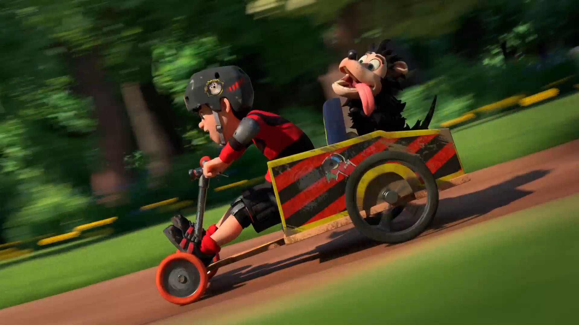 Dennis and Gnasher in a go-kart from Dennis & Gnasher Unleashed!