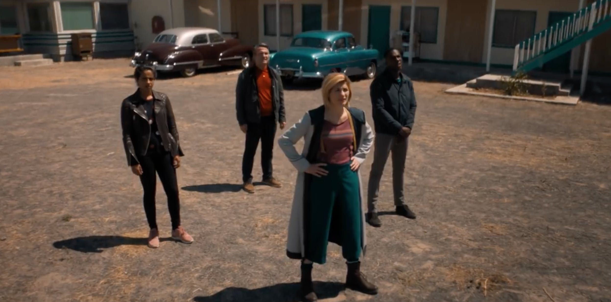 A still from the new BBC series of Doctor Who starring Jodie Whittaker, Bradley Walsh, Tosin Cole and Mandip Gill