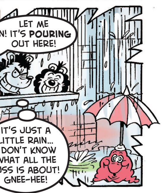 Gnasher and Gnipper won't go walkies and get dad drenched!