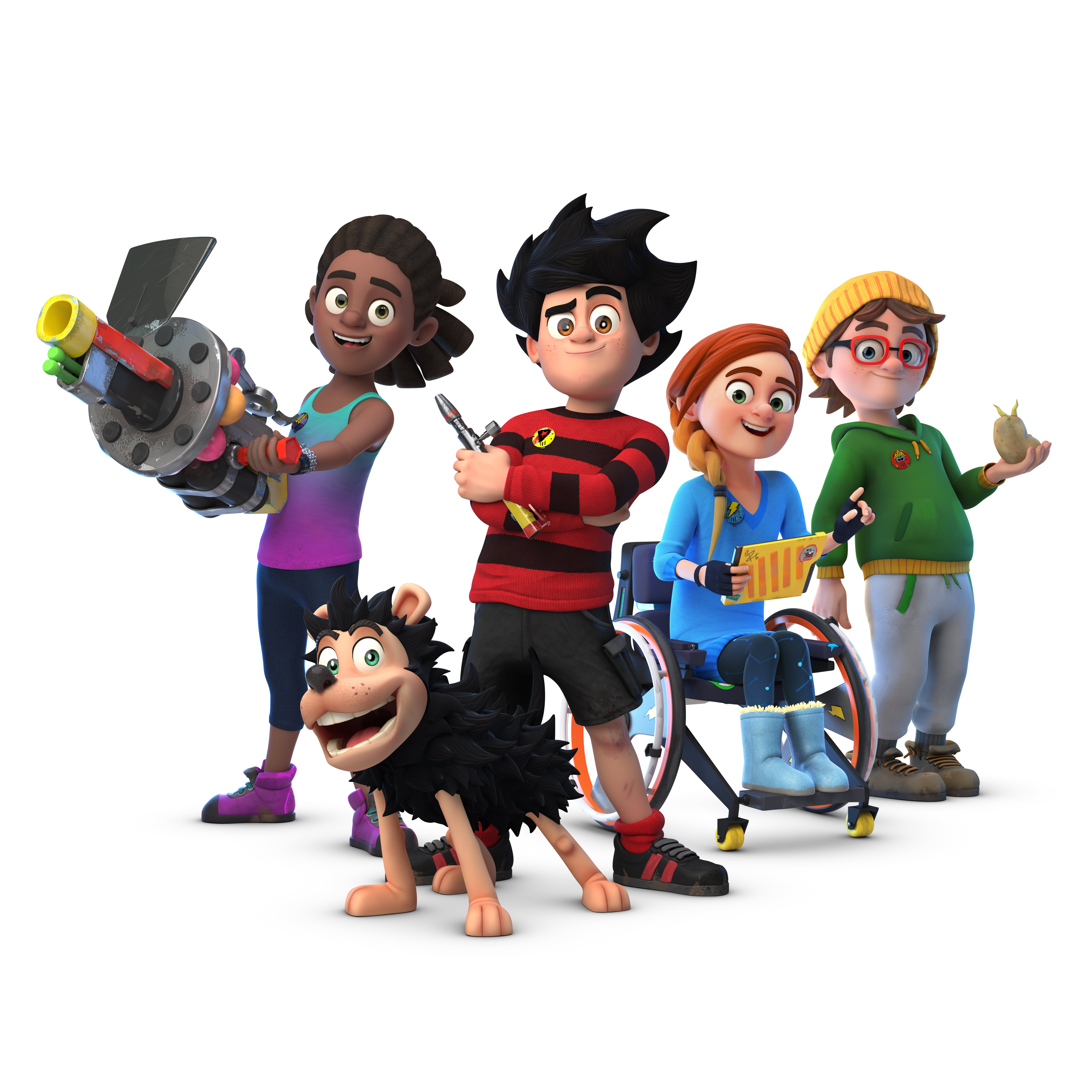 Dennis, Gnasher, Rubi, JJ and Pieface from Dennis and Gnasher Unleashed