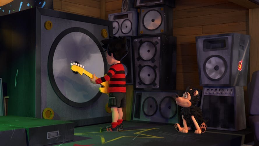 Dennis and Gnasher star in the time travel adventure Red and Black to the Future in Dennis and Gnasher: Unleashed!
