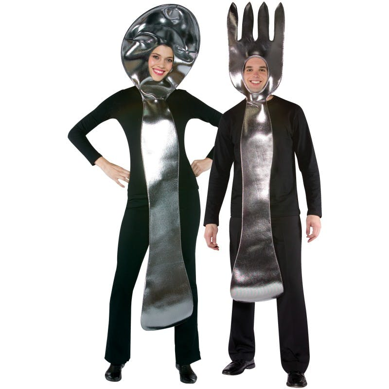 2 people dressed as a spoon and a fork