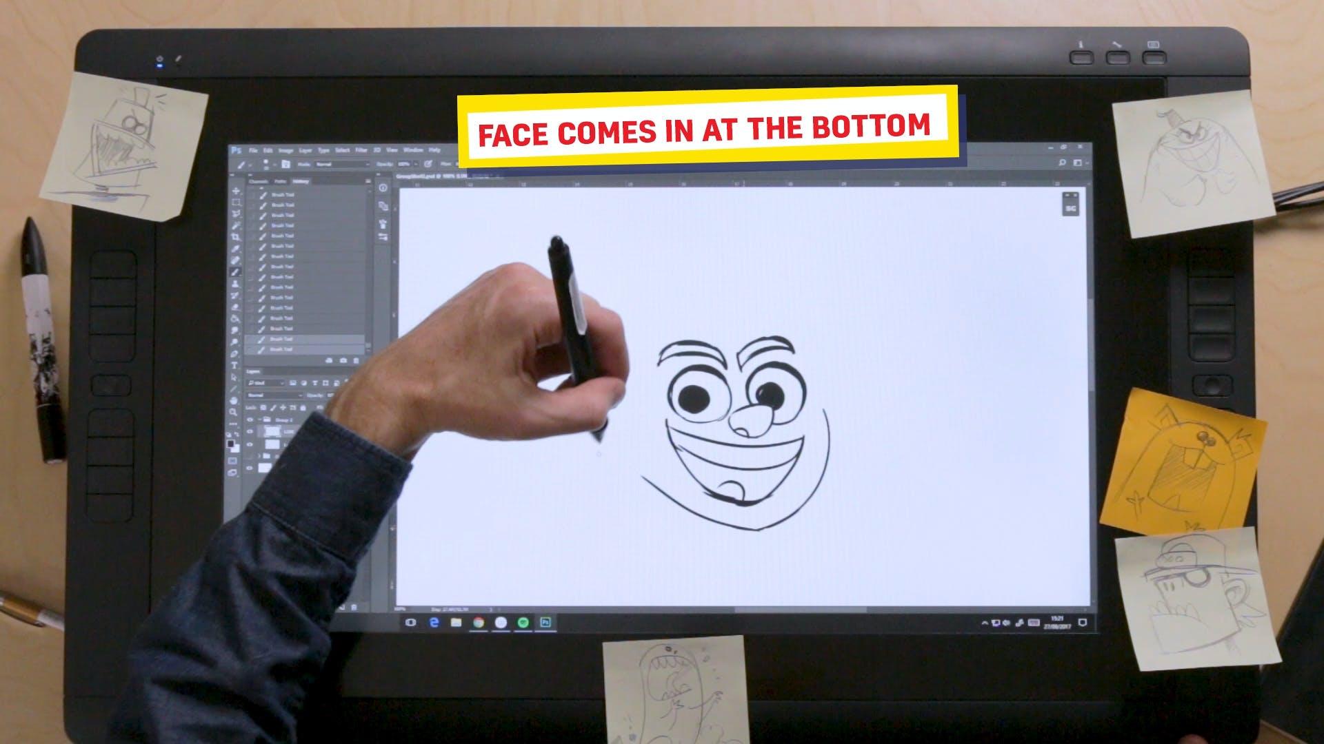 Ross drawing JJ's chin