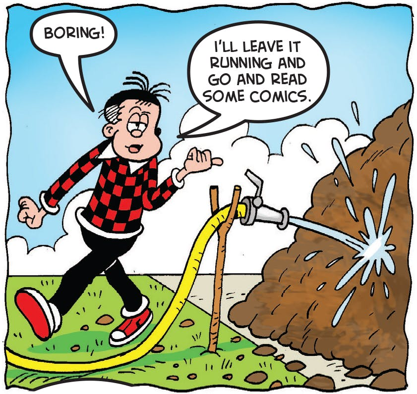 Roger uses the hose