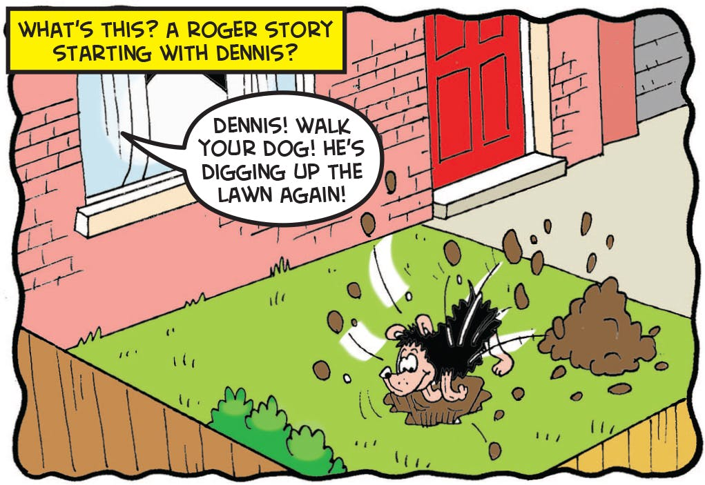 Gnasher digs up the lawn