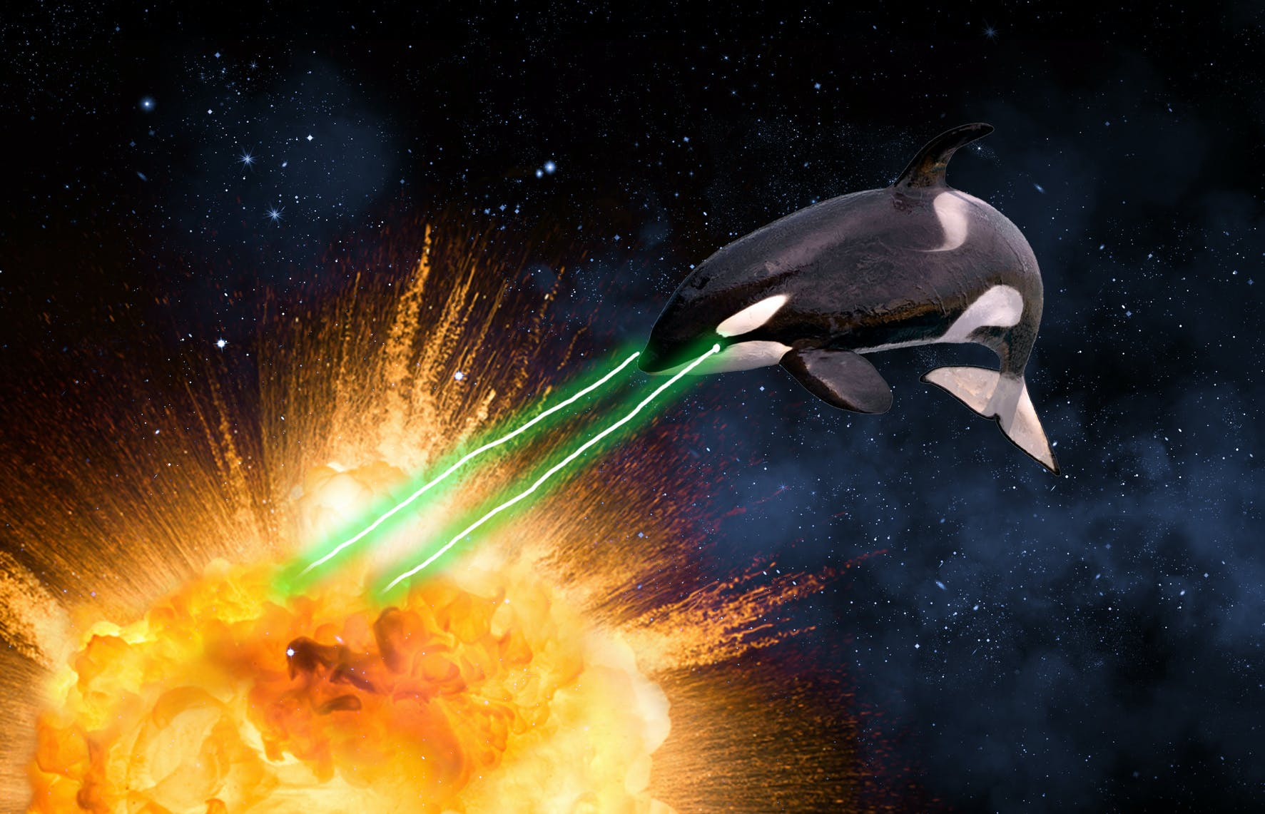 Killer whale blowing up a planet