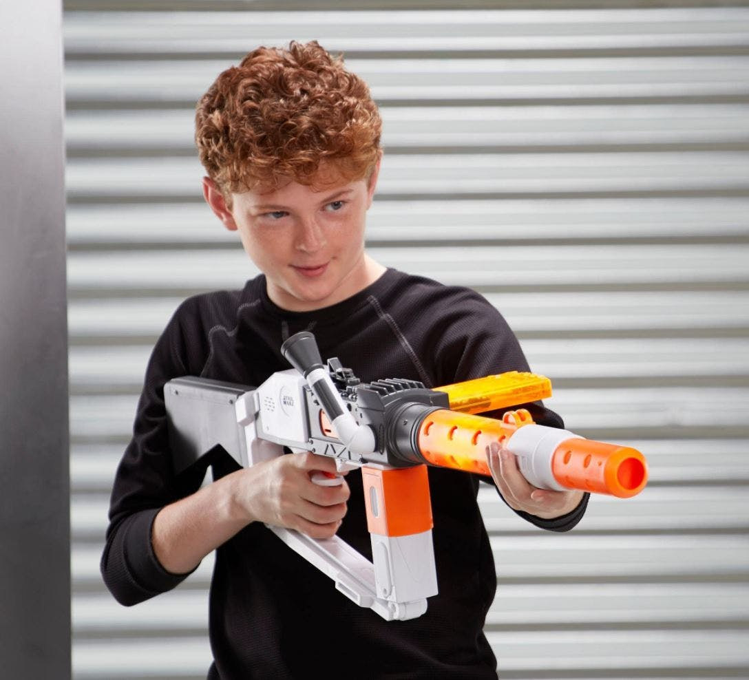 NERF rifle in action