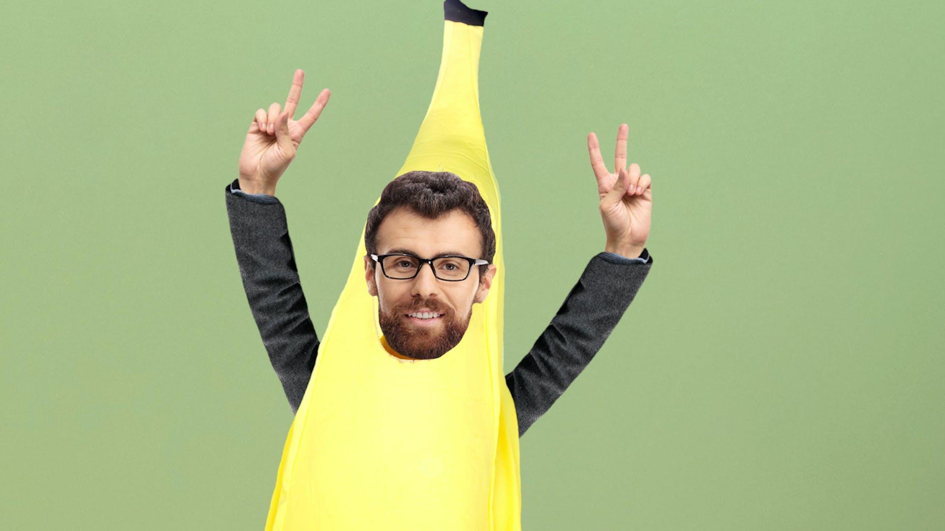 Geography teacher dressed as a banana
