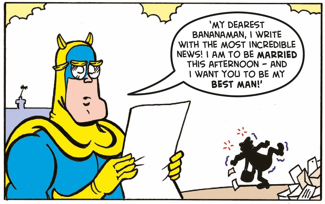 Bananaman reading, glasses