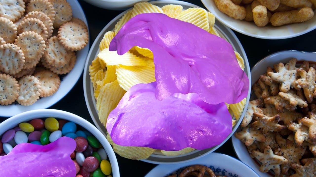 Snacks covered in slime