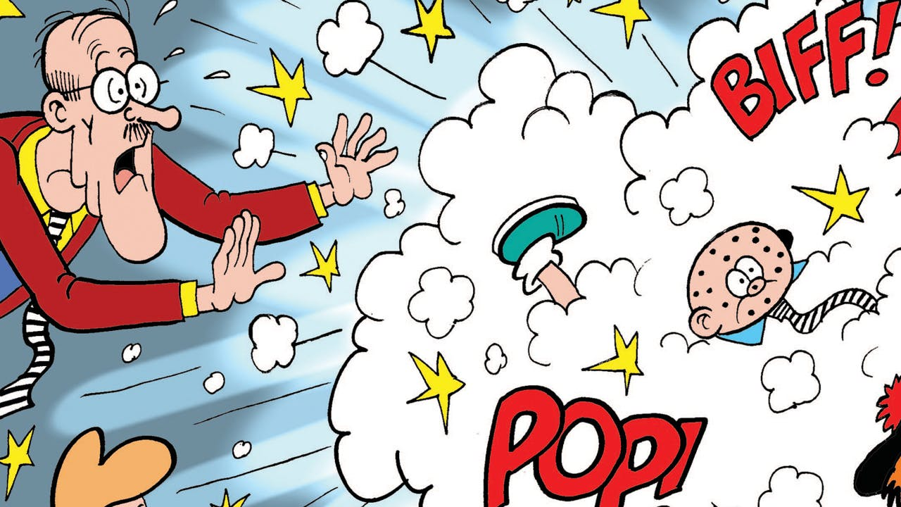 Teacher from the Bash Street Kids shocked at a cloud of fighting