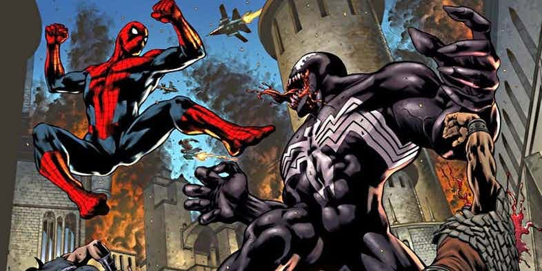 Spider-man fights a baddie dressed in all black