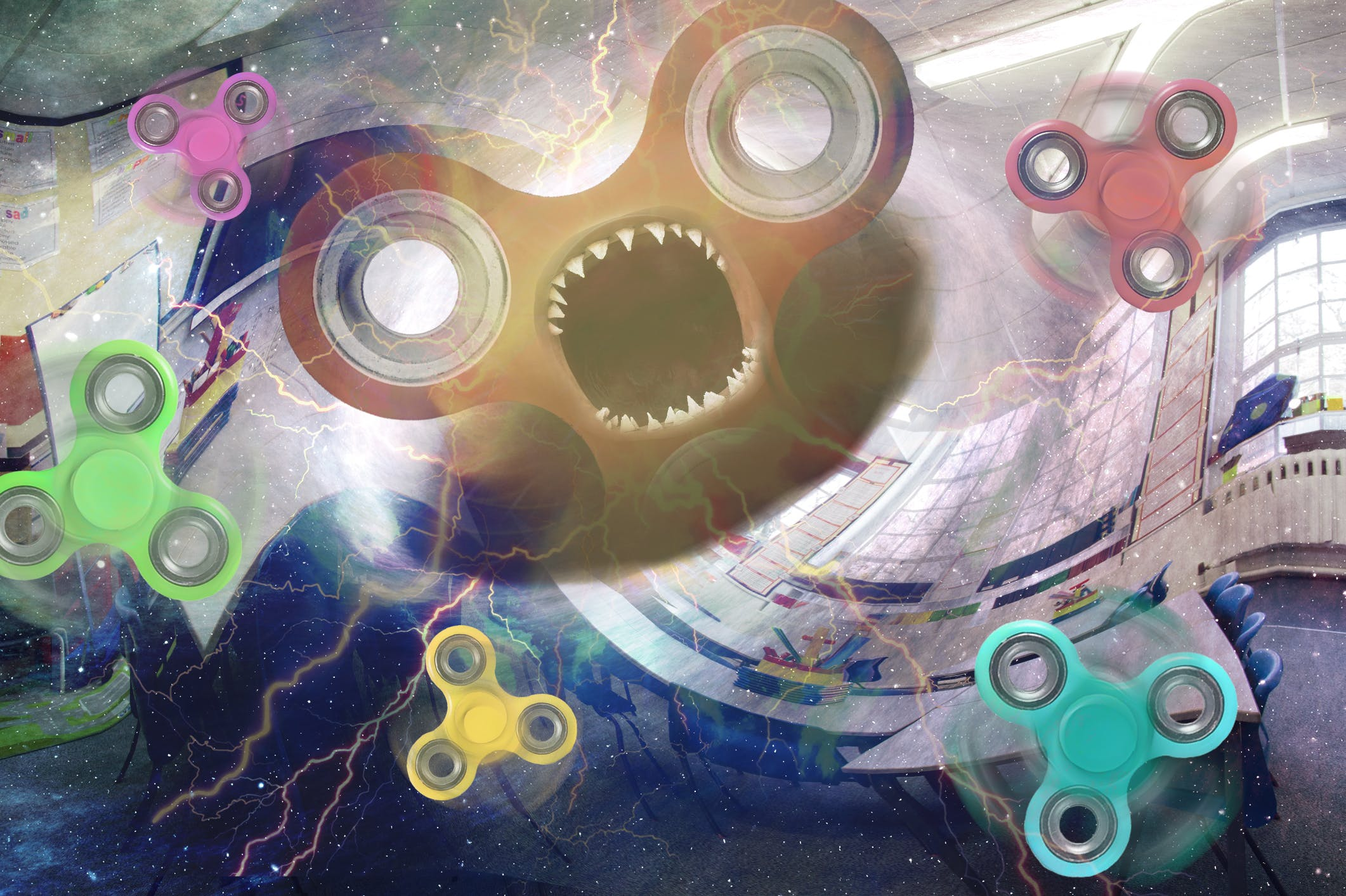 Fidget Spinners opening a portal in a classroom and a giant monster spinner is escaping