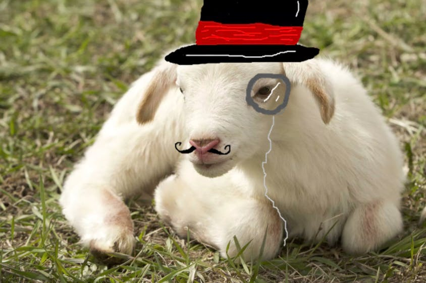 A sheep in a top hat with a monacle