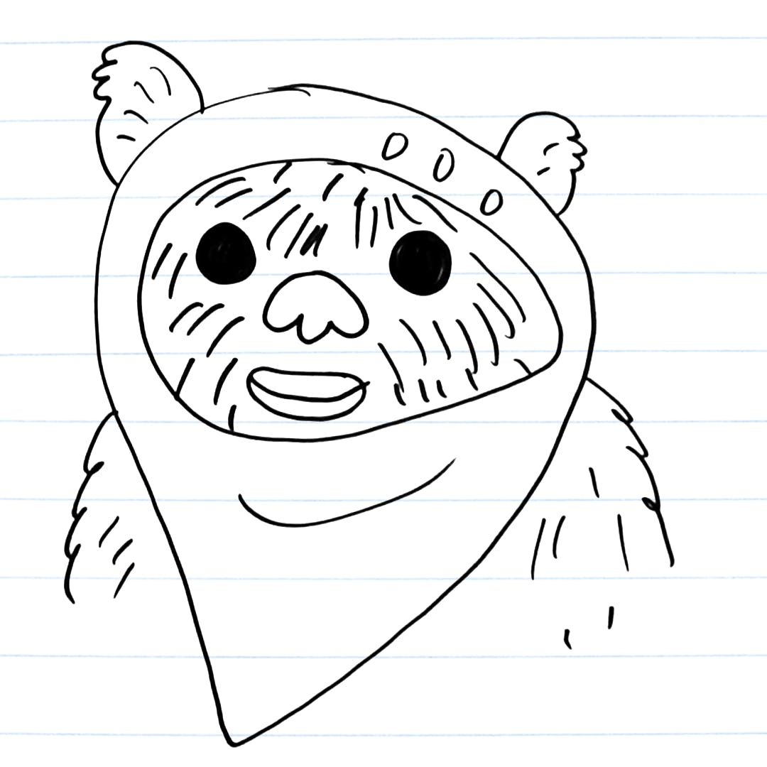 Drawing of an ewok