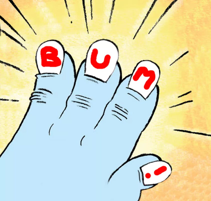 A yeti's hand with painted nails that spell the word BUM!