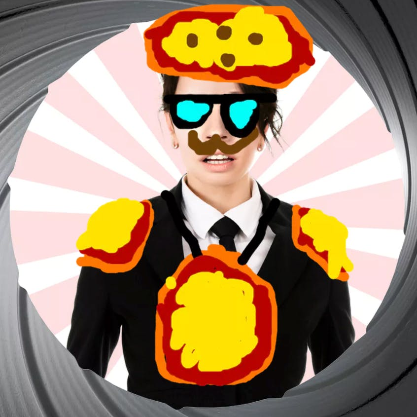 A secret agent with glasses and a moustache covered in pizzas