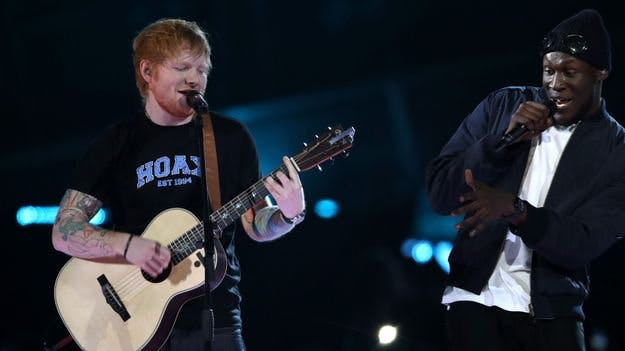Ed Sheeran and Stormzy at the Brits 2017