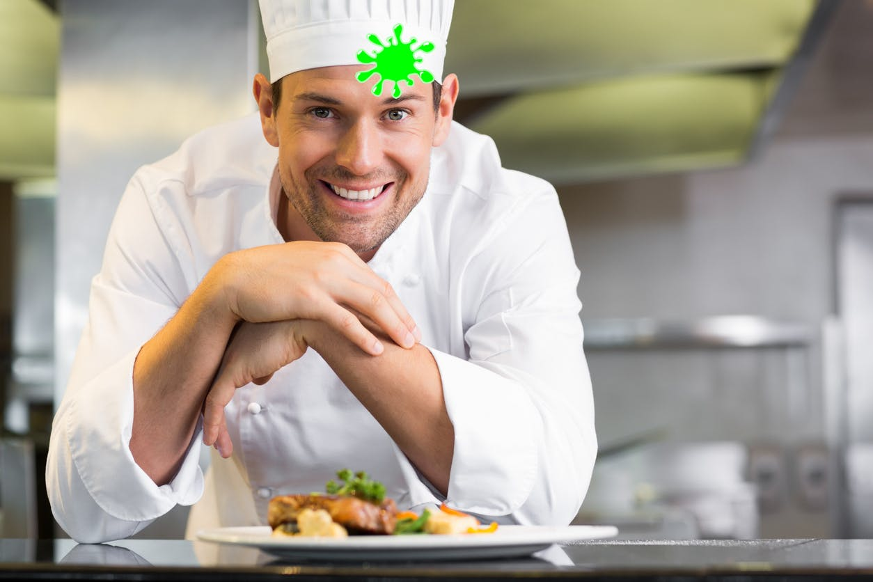 A chef with a dollop of slime on his head!