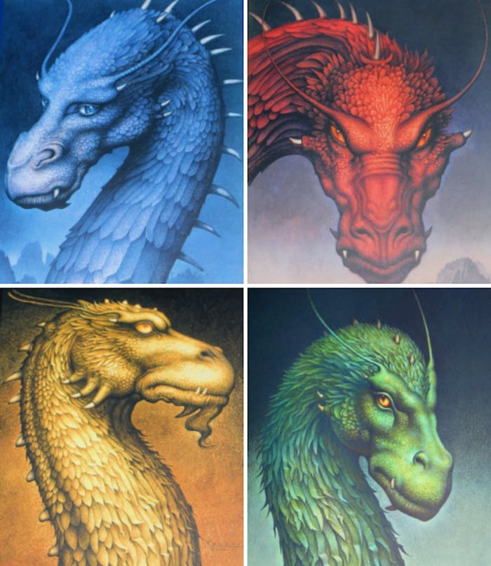 Four friendly dragons