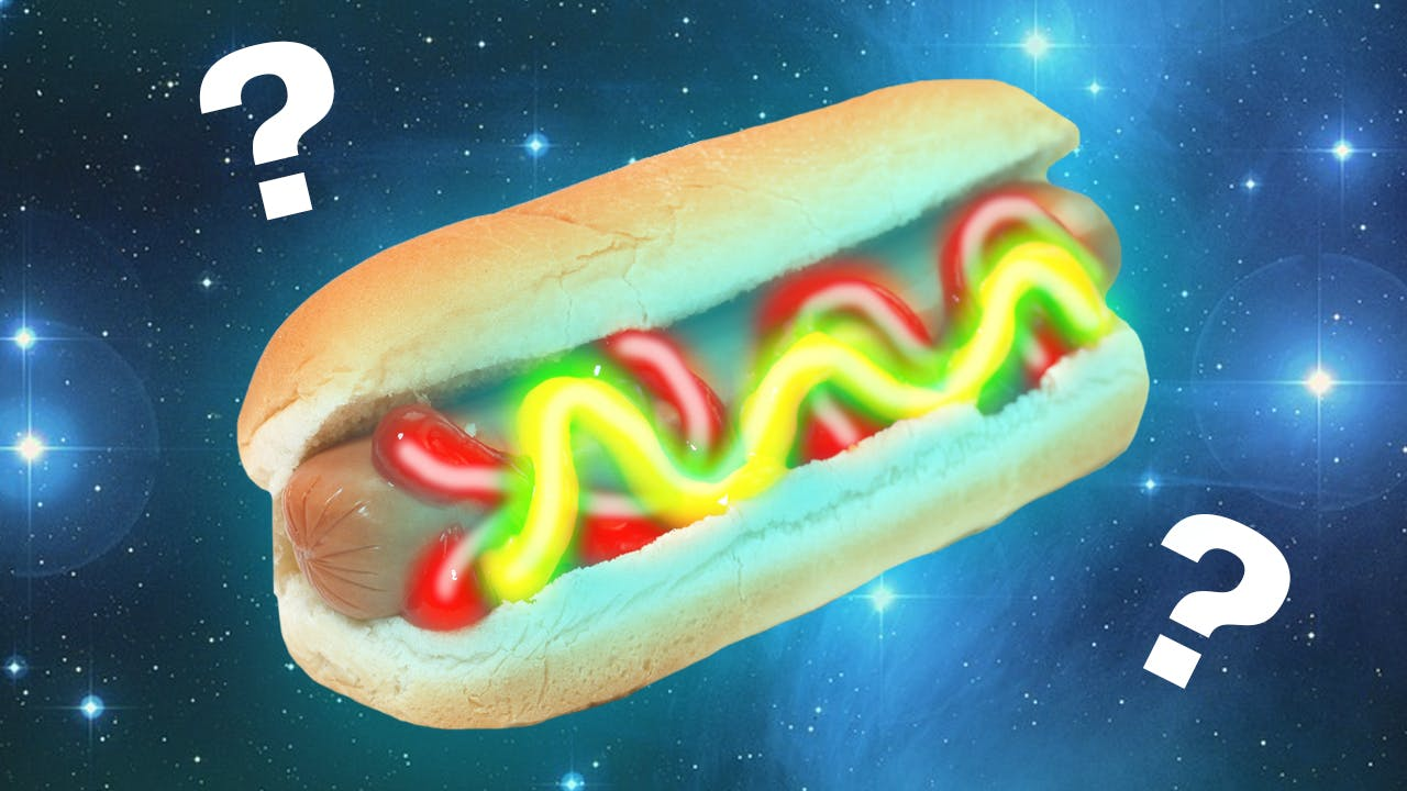 Space Hot dog with lightsaber mustard and ketchup