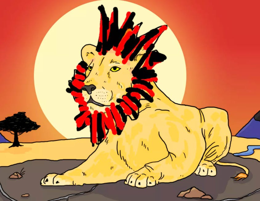 A Lion with a black and red striped mane