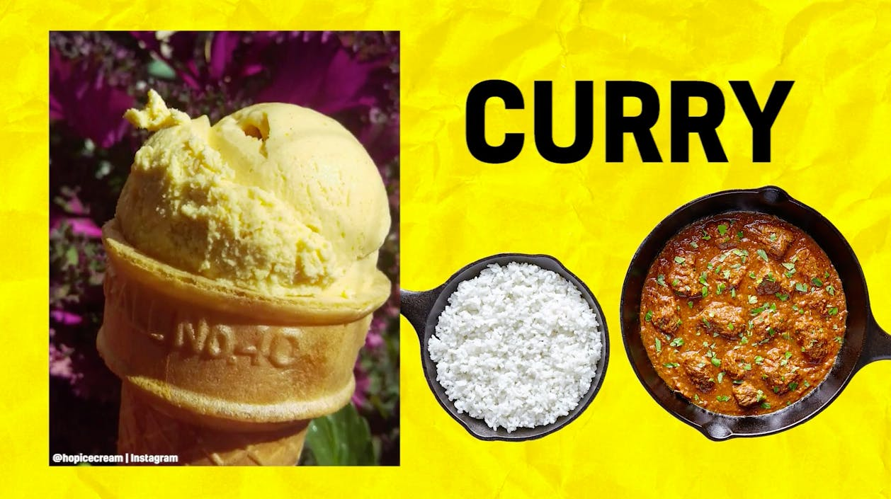 Curry-flavoured ice cream