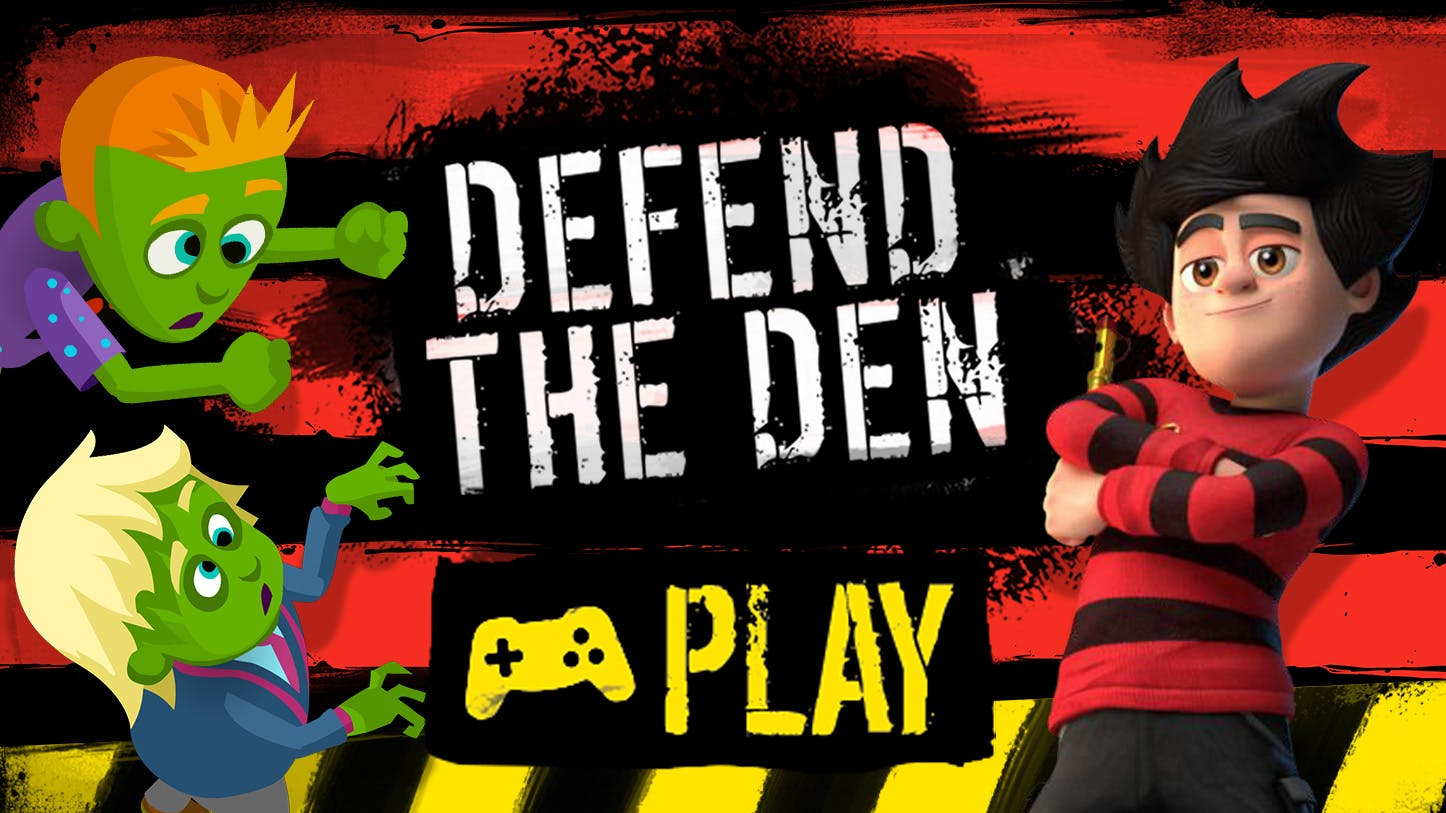 Play the Defend the Den game with Dennis and Gnasher