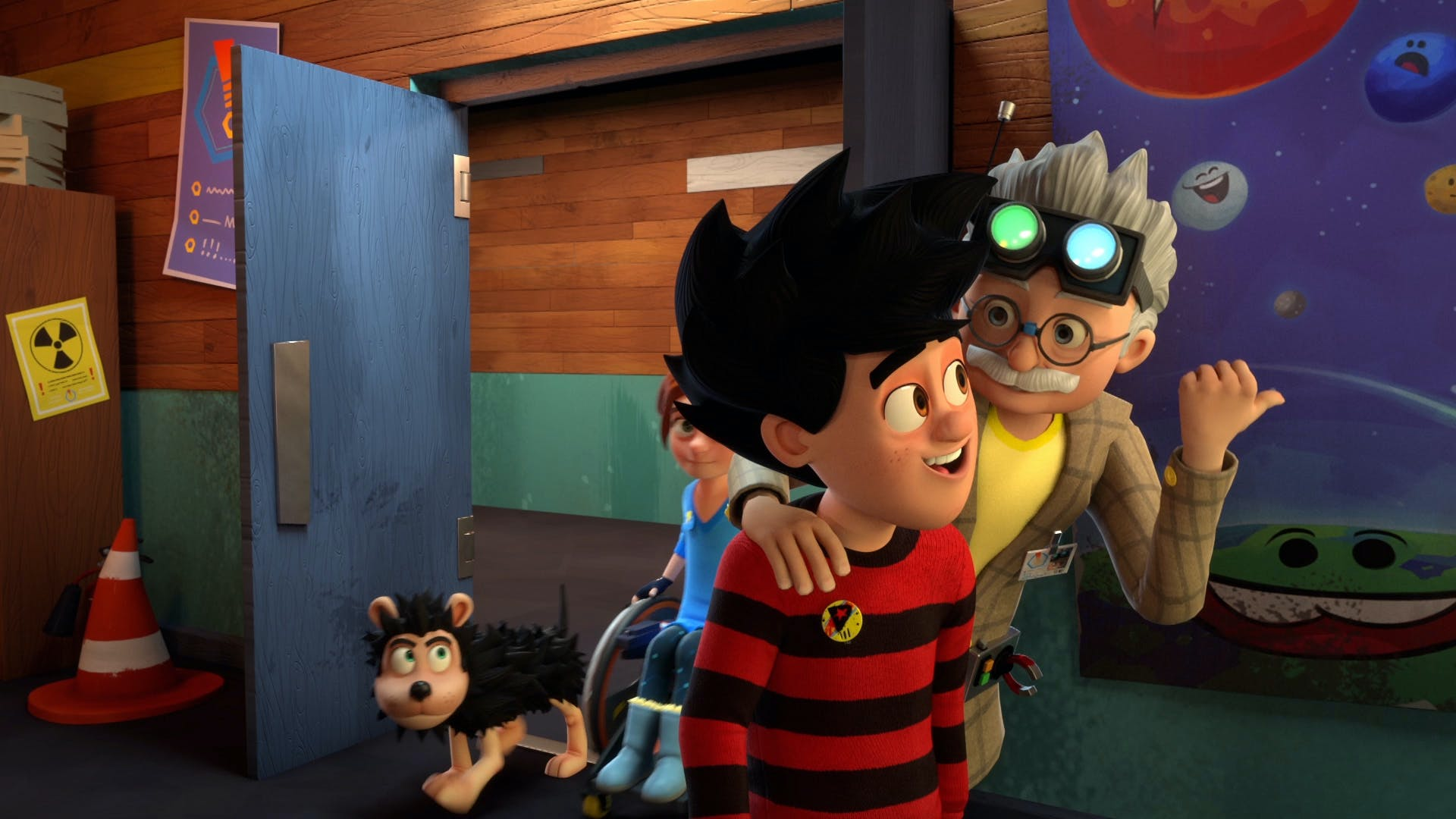 Dennis Gnasher and Rubi listen to the Professor in the lab