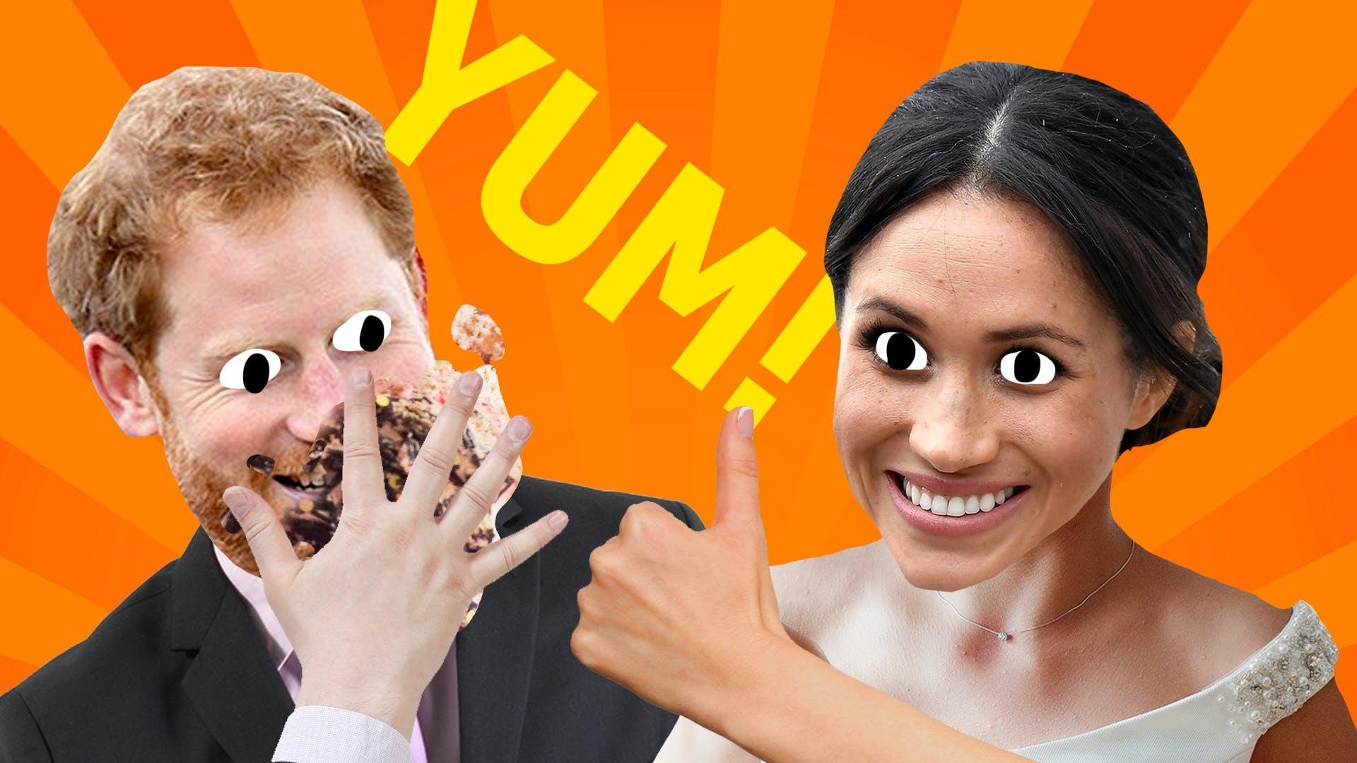 Megan and Harry love their wedding cake