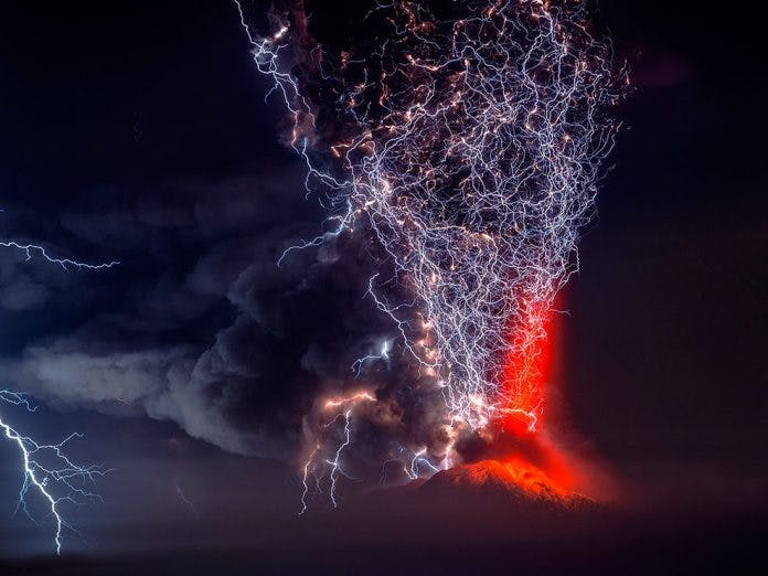 Lightning striking a volcano