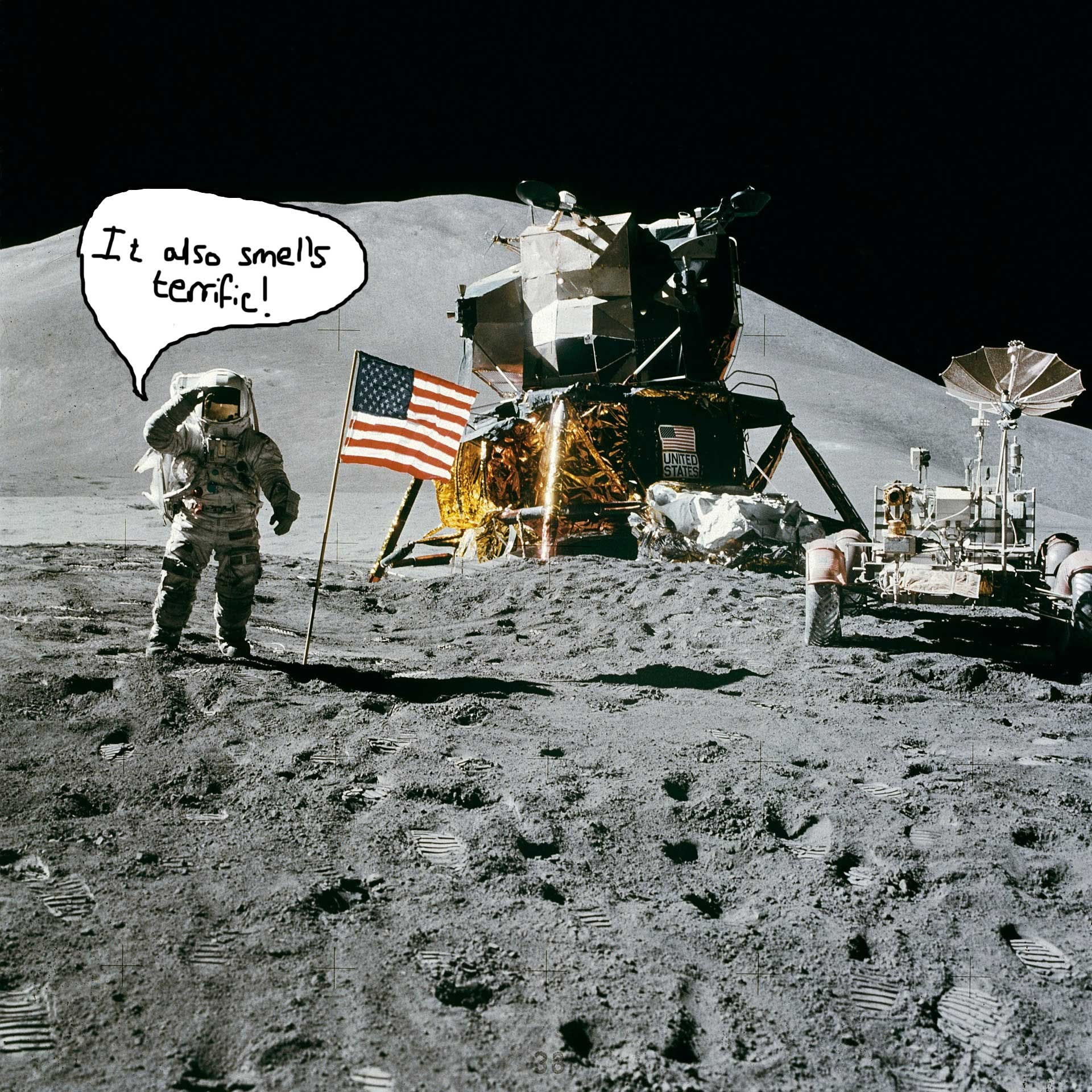 An astronaut delighted by how terrific the moon smells