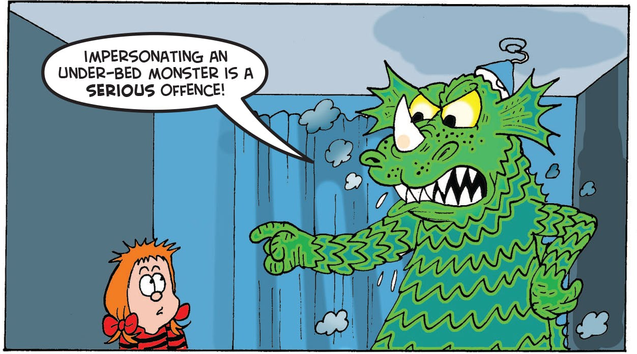 The monster talks to Minnie